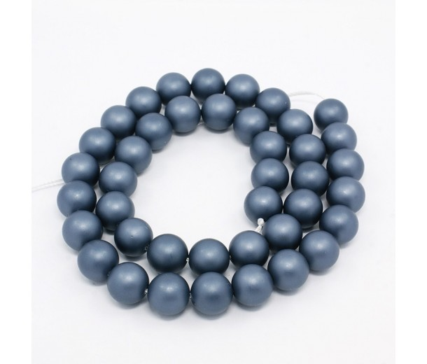 Matte Shell Pearls, Steel Blue, 6mm Round