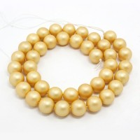 Matte Shell Pearls, Gold, 8mm Round..