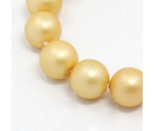 Matte Shell Pearls, Gold, 6mm Round