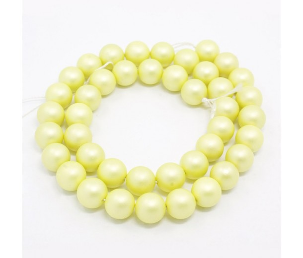 Matte Shell Pearls, Jonquil, 6mm Round