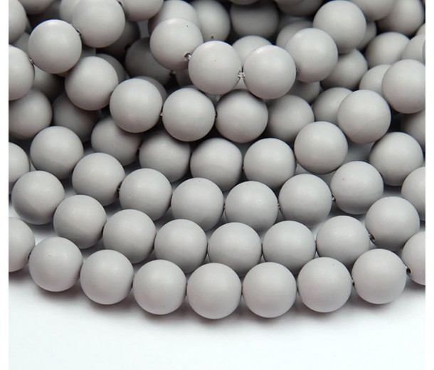 Matte Shell Pearls, Mouse Grey, 8mm Round