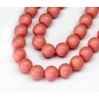 Matte Shell Pearls, Coral, 8mm Round