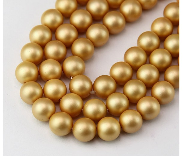 Matte Shell Pearls, Old Gold, 8mm Round