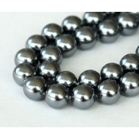 Shell Pearls, Steel Grey, 8mm Round