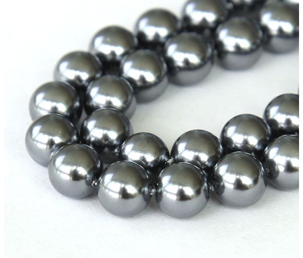 Shell Pearls, Grey, 8mm Round