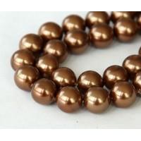Shell Pearls, Sienna Brown, 8mm Round