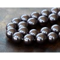 Shell Pearls, Dark Purple, 8mm Round
