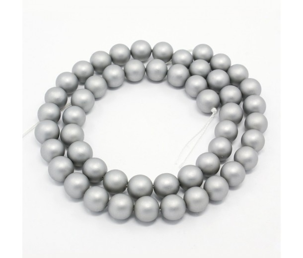 Matte Shell Pearls, Grey, 6mm Round