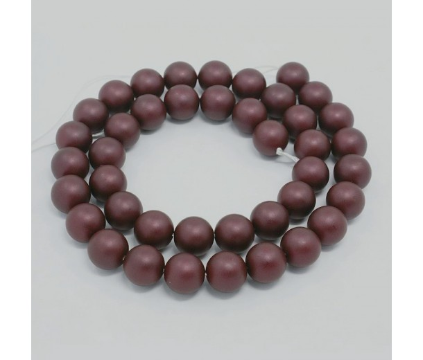 Matte Shell Pearls, Chocolate Brown, 8mm Round