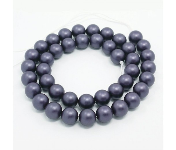 Matte Shell Pearls, Indigo Blue, 6mm Round