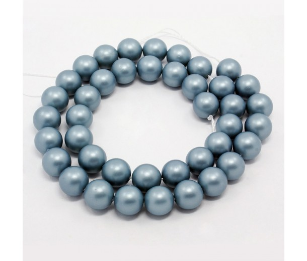 Matte Shell Pearls, Light Blue, 6mm Round