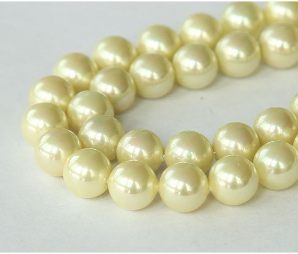 Shell Pearls, Champagne Yellow, 8mm Round