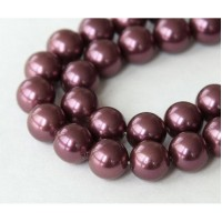 Shell Pearls, Dark Mauve, 8mm Round