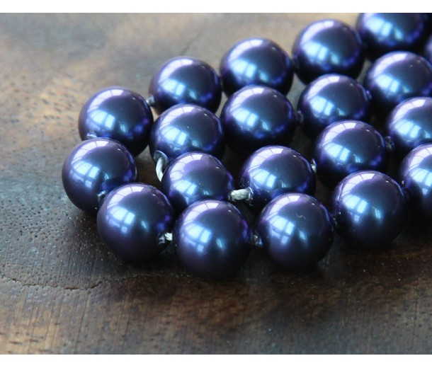 Shell Pearls, Dark Blue, 8mm Round