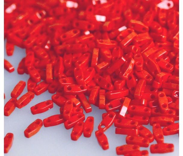 5mm Miyuki Quarter Tila Beads, Opaque Dark Red, 10 Gram Bag