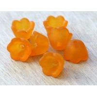 Orange Lucite Flower Beads, 6x10mm Lily of the Valley, Pack of 20