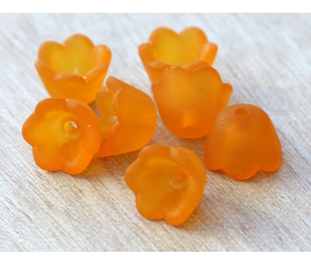 Orange Lucite Flower Beads, 6x10mm Lily of the Valley