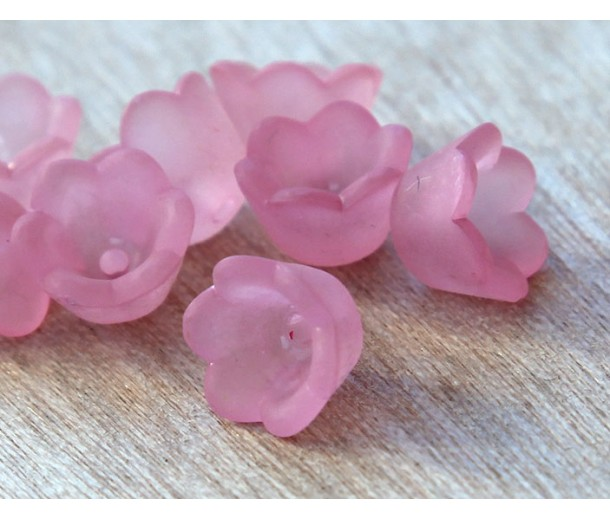 Rose Pink Lucite Flower Beads, 6x10mm Lily of the Valley