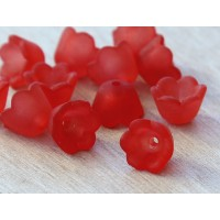 Red Lucite Flower Beads, 6x10mm Lily of the Valley, Pack of 20