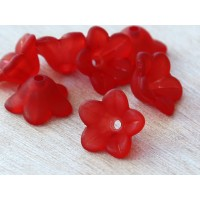 Red Lucite Flower Beads, 7x13mm Star Shaped, Pack of 20