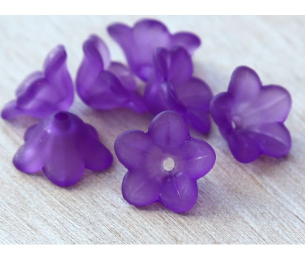 Purple Lucite Flower Beads, 7x13mm Star Shaped, Pack of 20
