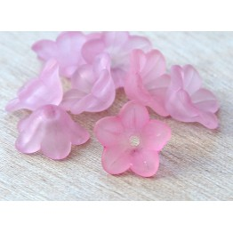 Rose Pink Lucite Flower Beads, 7x13mm Star Shaped