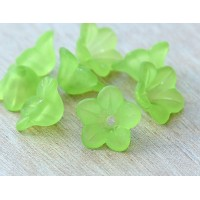 Green Lucite Flower Beads, 7x13mm Star Shaped, Pack of 20