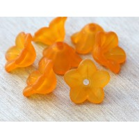 Orange Lucite Flower Beads, 7x13mm Star Shaped