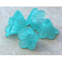Light Blue Lucite Flower Beads, 10x15mm Amaryllis, Pack of 20
