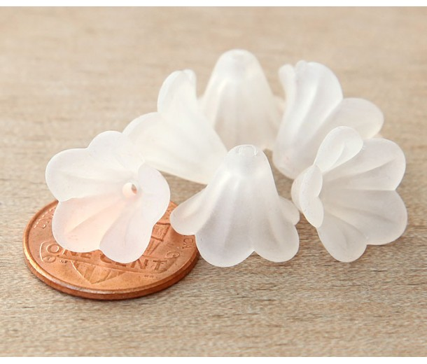 White Lucite Flower Beads, 10x15mm Amaryllis, Pack of 20
