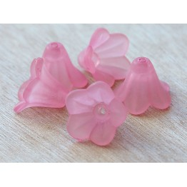 Rose Pink Lucite Flower Beads, 10x15mm Amaryllis