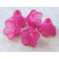 Hot Pink Lucite Flower Beads, 10x15mm Amaryllis, Pack of 20