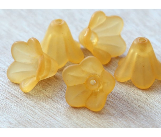 Melon Orange Lucite Flower Beads, 10x15mm Amaryllis, Pack of 20