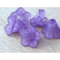Purple Lucite Flower Beads, 10x15mm Amaryllis, Pack of 20
