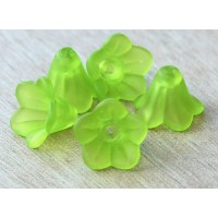 Green Lucite Flower Beads, 10x15mm Amaryllis, Pack of 20