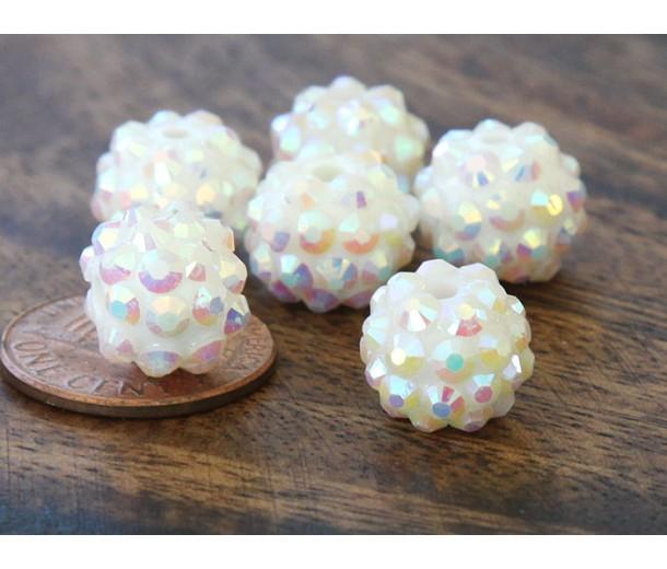 White AB Rhinestone Ball Beads, 12mm Round