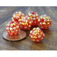 Red AB Rhinestone Ball Beads, 12mm Round
