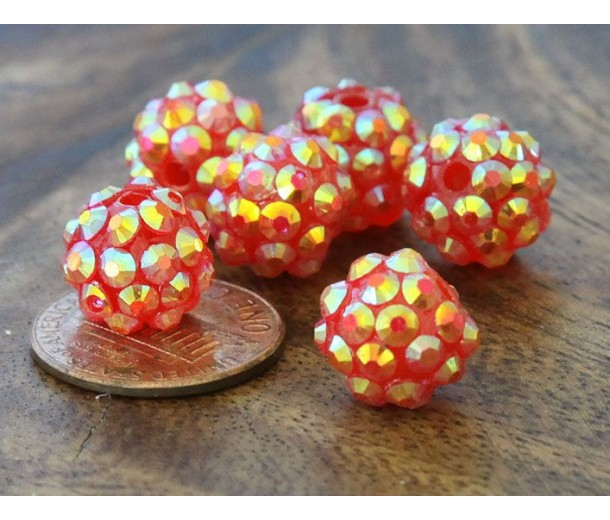 Red AB Rhinestone Ball Beads, 12mm Round, Pack of 10