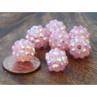 Pearl Pink AB Rhinestone Ball Beads, 12mm Round
