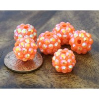 Melon Orange AB Rhinestone Ball Beads, 12mm Round