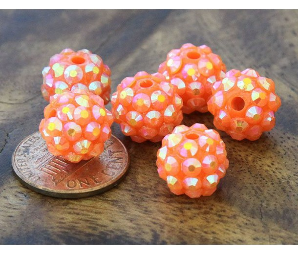 Melon Orange AB Rhinestone Ball Beads, 12mm Round, Pack of 10