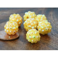 Yellow AB Rhinestone Ball Beads, 12mm Round