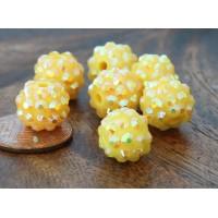 Yellow AB Rhinestone Ball Beads, 12mm Round, Pack of 10