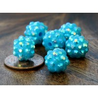 Sky Blue AB Rhinestone Ball Beads, 12mm Round