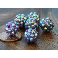 Dark Purple AB Rhinestone Ball Beads, 12mm Round, Pack of 10
