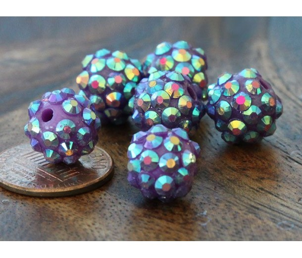 Dark Purple AB Rhinestone Ball Beads, 12mm Round