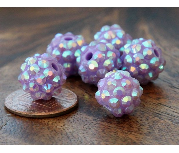 Light Purple AB Rhinestone Ball Beads, 12mm Round