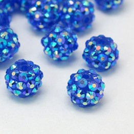 Dark Blue AB Rhinestone Ball Beads, 12mm Round