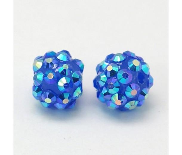 Medium Blue AB Rhinestone Ball Beads, 12mm Round