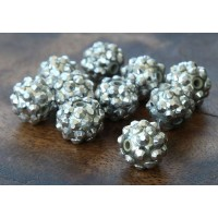 Silver Metallic Rhinestone Ball Beads, 12mm Round, Pack of 10